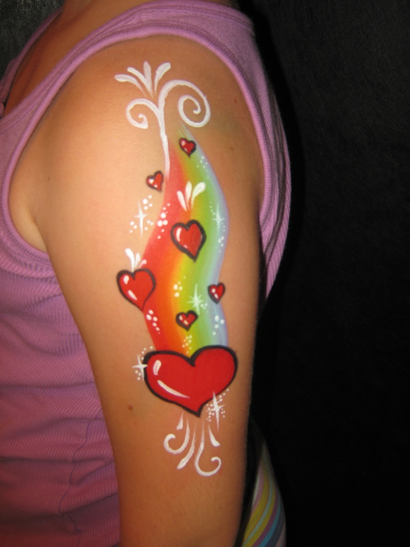 rainbow and hearts arm design