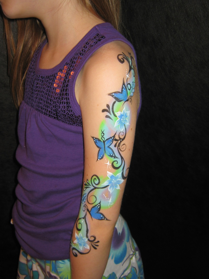 Flowers and Butterflies arm design